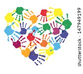 Colorful Child Hand Prints In...