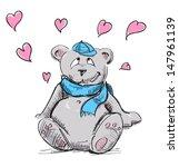 in love cute teddy bear sketch... | Shutterstock . vector #147961139