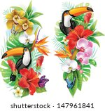 tropical flowers  toucan and a... | Shutterstock .eps vector #147961841