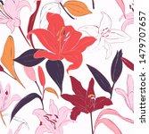 red lilies hand drawn... | Shutterstock .eps vector #1479707657
