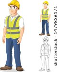 man with safety gear standing... | Shutterstock .eps vector #1479836171