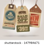 Stock vector vintage style sale tags design 147984671