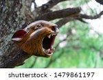 Jaguar Head Carved In Wood...