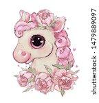 Cute Pink Unicorn In Peony...