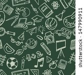 seamless school stuff doodles... | Shutterstock . vector #147990911