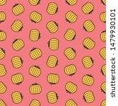 seamless pumpkin pattern on red ... | Shutterstock .eps vector #1479930101