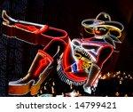 vegas cowgirl neon - stock photo