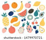 doodle fruits. natural tropical ... | Shutterstock . vector #1479970721