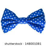 Blue Bow Close Up On White...
