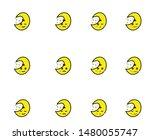 moon  emoticon or smile icon... | Shutterstock .eps vector #1480055747