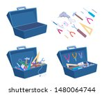 empty and full open toolbox.... | Shutterstock .eps vector #1480064744