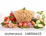 chickpea salad with ingredient | Shutterstock . vector #148006625