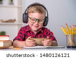 back to school. thinking child...   Shutterstock . vector #1480126121