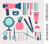 hairdresser elements set vector ... | Shutterstock .eps vector #1480130141