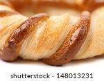 Freshly fancy pretzel baked. Macro. - stock photo