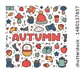 autumn lineart icons doodles... | Shutterstock .eps vector #1480137857