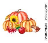 watercolor autumn card with...   Shutterstock . vector #1480139984