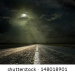 dramatic sky over an asphalt... | Shutterstock . vector #148018901