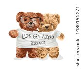 bear toy couple in get along t... | Shutterstock .eps vector #1480195271