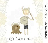 zodiac sign taurus. a boy with...   Shutterstock .eps vector #148019624