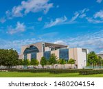 Federal Chancellery in Berlin with clouds