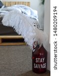 Small photo of close up of red glass growler that reads stay savage with white fluffy giant feather resting in it bokeh modern bedroom background