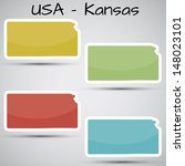 stickers in form of kansas... | Shutterstock . vector #148023101