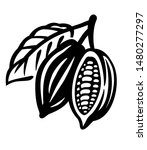 cocoa beans black icon on white | Shutterstock .eps vector #1480277297