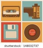 Retro Media Objects. Vector...