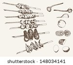shish kebab on skewers. set of... | Shutterstock .eps vector #148034141