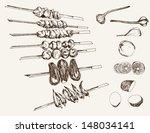 shish kebab on skewers. set of... | Shutterstock .eps vector #148034141