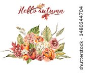 Hand Painted Watercolor Autumn...