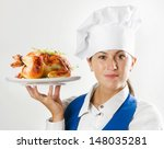 Chef Woman Showing  Plate With...