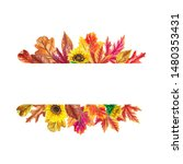 watercolor autumn banner with...   Shutterstock . vector #1480353431