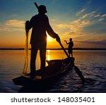 Fisherman Thailand Sunset  Asia
