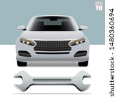 frontal view of a modern car ... | Shutterstock .eps vector #1480360694