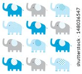 Stock vector cute elephant pattern 148036547