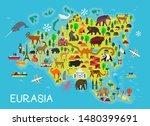 cartoon animal map. eurasia.... | Shutterstock .eps vector #1480399691