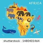 africa cartoon animal map.... | Shutterstock .eps vector #1480401464