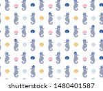 marine pattern with cute...   Shutterstock .eps vector #1480401587