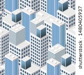 isometric buildings. seamless...   Shutterstock .eps vector #1480405937