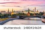 Moscow Kremlin At Moskva River...