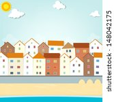houses on the waterfront - stock vector