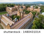 Aerial view of Yury Fedkovych national University in Chernivtsi, Ukraine. Travel destinations in Ukraine