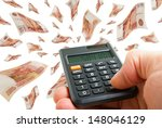 collage with flying rubles and... | Shutterstock . vector #148046129