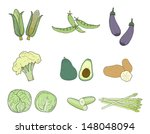 vegetable vintage drawing... | Shutterstock .eps vector #148048094