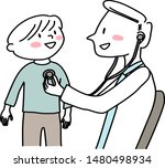 doctor giving kid a checkup.... | Shutterstock .eps vector #1480498934