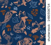 seamless pattern with fox and... | Shutterstock .eps vector #1480508714