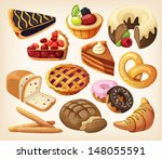 set of pies and flour products... | Shutterstock .eps vector #148055591