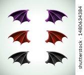 demons wings set. halloween... | Shutterstock .eps vector #1480634384